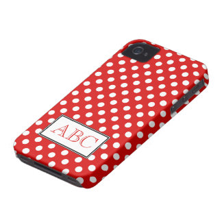 Caja roja y blanca del lunar del iPhone 4 4S Case-Mate iPhone 4 Protectores