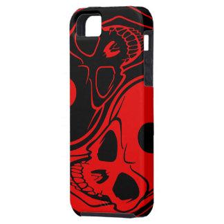 Caja roja y negra del cráneo de Yin Yang del iPhon iPhone 5 Funda