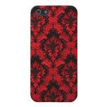Caja roja y negra del damasco del iPhone iPhone 5 Protector