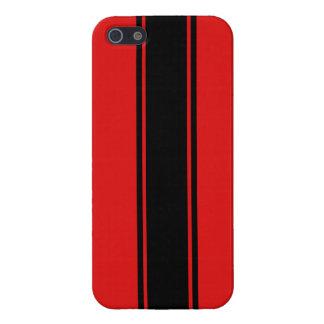 Caja roja y negra del iPhone 5 de la raya que comp iPhone 5 Fundas