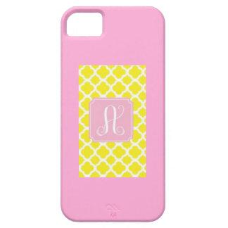 Caja rosada amarilla del monograma A IPhone de Q iPhone 5 Case-Mate Carcasa