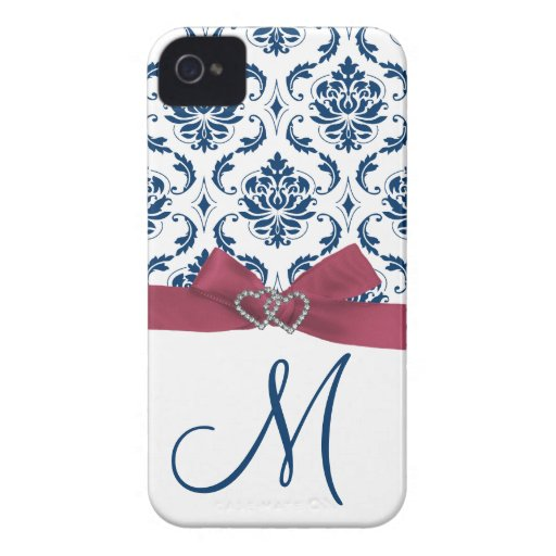 Caja rosada, azul con monograma del iPhone 4 del d iPhone 4 Case-Mate Protector