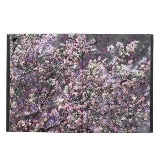 Caja rosada blanca del aire del iPad de las flores