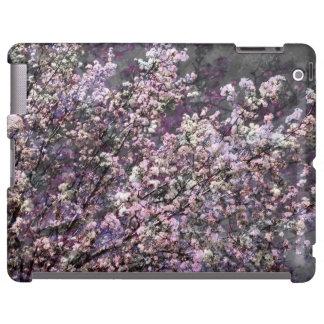 Caja rosada blanca del iPad de las flores de cerez