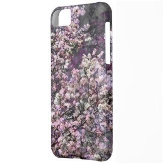 Caja rosada blanca del iPhone 5c de las flores de
