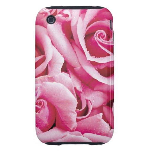 Caja rosada bonita del teléfono de los rosas tough iPhone 3 funda