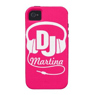 Caja rosada de DJ de los auriculares y blanca iPhone 4 Fundas