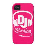 Caja rosada de DJ de los auriculares y blanca nomb Vibe iPhone 4 Carcasas