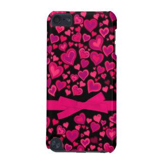 Caja rosada de la cinta de los corazones y negra c
