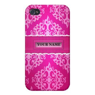 Caja rosada de la mota de Iphone 4/4S del damasco iPhone 4 Carcasa