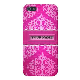 Caja rosada de la mota de Iphone 4/4S del damasco iPhone 5 Fundas