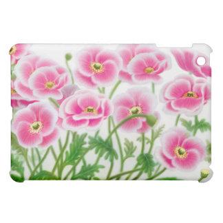 Caja rosada de la mota de las amapolas de jardín