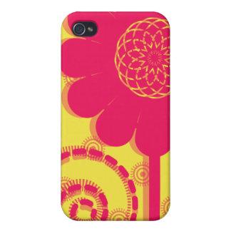 Caja rosada de la mota del iPhone 4 de la flor iPhone 4 Carcasas