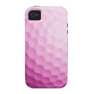 Caja rosada de la pelota de golf - espacio en blan vibe iPhone 4 carcasas