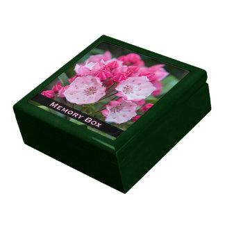Caja rosada de la teja del laurel de montaña joyero cuadrado grande