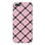 Caja rosada de la tela escocesa iPhone 5 carcasa