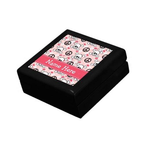 Caja rosada del cráneo y de regalo de la bandera p caja de recuerdo