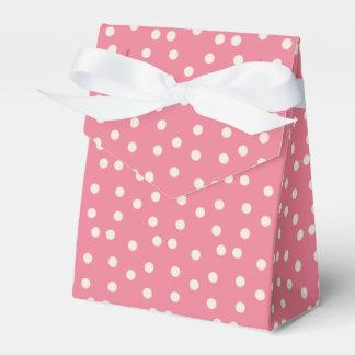Caja rosada del favor de fiesta del lunar con el caja para regalos