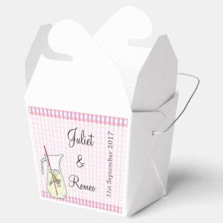 Caja rosada del favor de la limonada de la guinga cajas para regalos de boda
