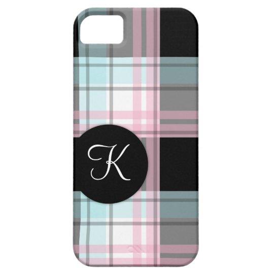 Caja rosada del iPhone 5 del monograma de la tela Funda Para iPhone SE/5/5s
