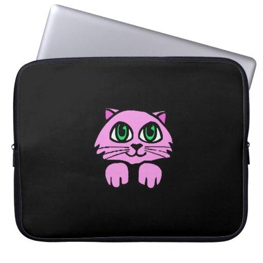 Caja rosada del ordenador portátil del gato funda computadora