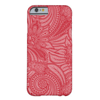 Caja rosada del teléfono del estampado de flores funda de iPhone 6 barely there