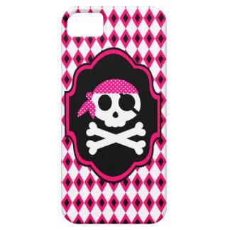 Caja rosada del teléfono del gótico del pirata iPhone 5 cárcasa