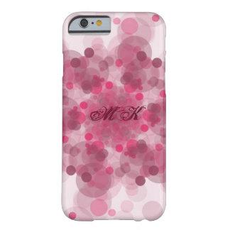 Caja rosada del teléfono del modelo del monograma funda de iPhone 6 barely there