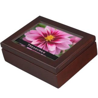 Caja rosada del tesoro del recuerdo de la flor cajas de recuerdos