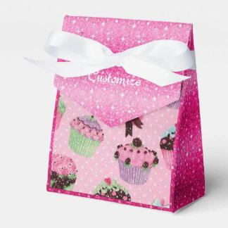 Caja rosada linda del favor de la magdalena del caja para regalos de fiestas