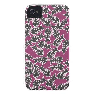 Caja rosada negra del iPhone 4 de las espinas de p iPhone 4 Case-Mate Fundas