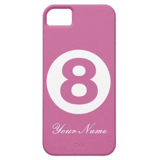 caja rosada oscura del número ocho iPhone 5 funda