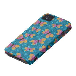 Caja rosada y amarilla de las mariposas para Black Case-Mate iPhone 4 Fundas