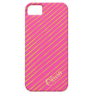 Caja rosada y amarilla del teléfono de la raya iPhone 5 funda
