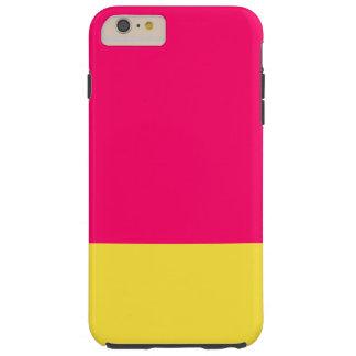 Caja rosada y amarilla del teléfono funda de iPhone 6 plus tough