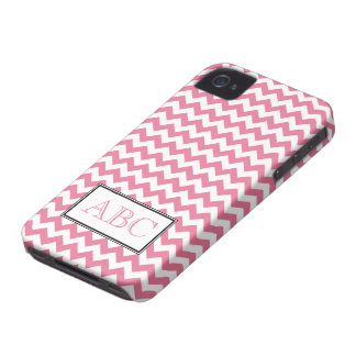 Caja rosada y blanca de Chevron del iPhone 4/4S iPhone 4 Case-Mate Carcasa