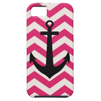 Caja rosada y blanca de Chevron iPhone 5 Cárcasas