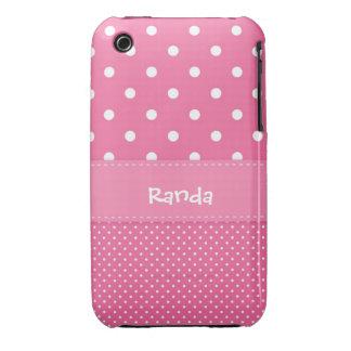 Caja rosada y blanca del iPhone 3 del lunar Case-Mate iPhone 3 Funda