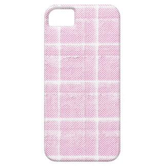 Caja rosada y blanca del iPhone 5 de la tela escoc iPhone 5 Carcasa