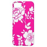Caja rosada y blanca del iPhone 5 del diseño flora iPhone 5 Cárcasa