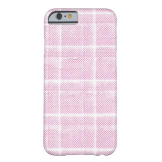 Caja rosada y blanca del iPhone 6 de la tela Funda De iPhone 6 Barely There
