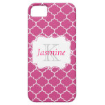 Caja rosada y blanca del monograma iPhone 5 Case-Mate cárcasas