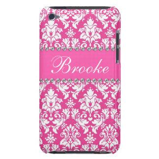 Caja rosada y blanca del nombre de Bling del diama iPod Touch Carcasa