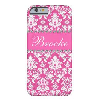 Caja rosada y blanca del nombre de Bling del Funda Para iPhone 6 Barely There