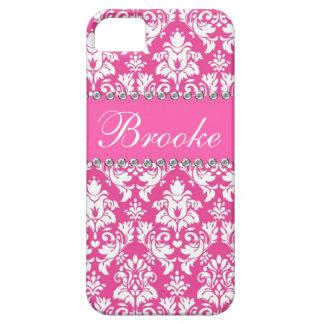 Caja rosada y blanca del nombre de Bling del iPhone 5 Fundas