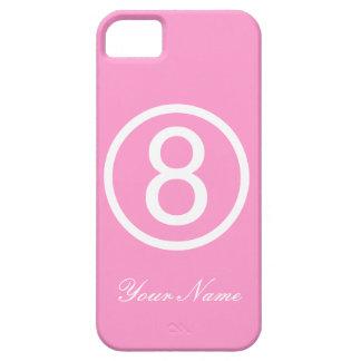Caja rosada y blanca del número ocho iPhone 5 carcasa