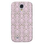 Caja rosada y gris del iPhone del damasco