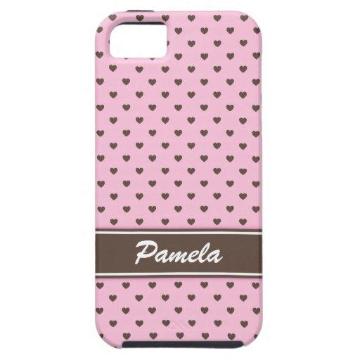 Caja rosada y marrón del iPhone 5 de los lunares Funda Para iPhone SE/5/5s