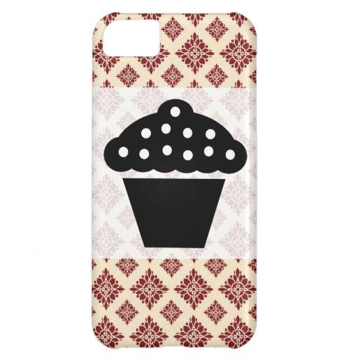 Caja rosada y marrón del iPhone 5 del damasco