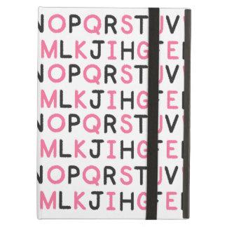 Caja rosada y negra del iPad del alfabeto con Kick